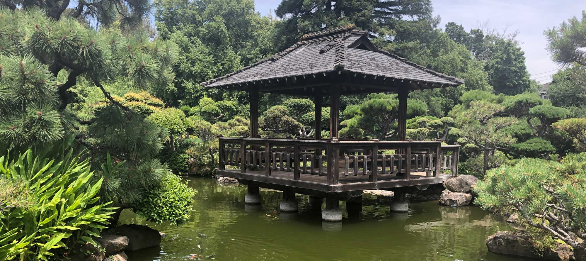 Gazebo over pond